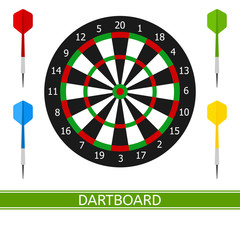 Vector illustration of darts and dartboard with numbers isolated on white background, in flat style.