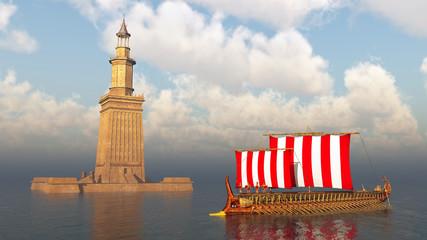 Pharos von Alexandria und antikes griechisches Kriegsschiff