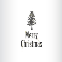 Simple Marry Christmas greeting card illustration with pine tree at the top.