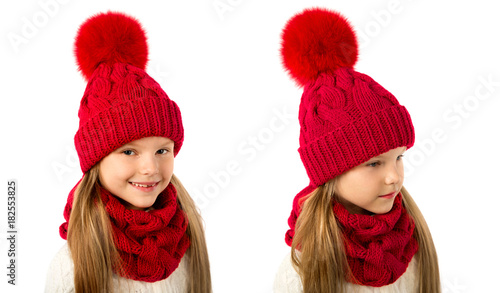 69ad62ef32803 Beautiful blond girl in winter warm red hat and scarf isolated on white. Children  winter