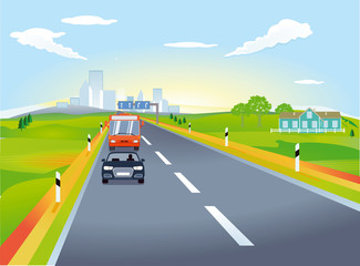 Landstraße mit Autoverkehr, Illustration