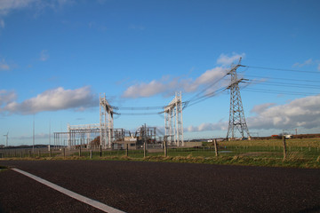 Powerstation with wires in Hoel van Holland, Netherlands