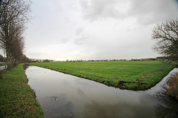 `Wide angle view of Zuidplaspolder, 21 ft below sea level, the lowest area of western Europe,