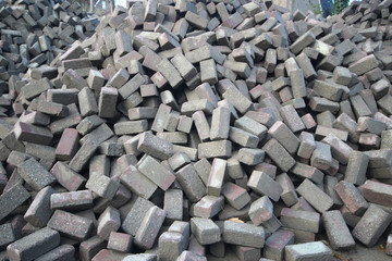 Pile of bricks for recreate roads in Moerkapelle, Nethetrlands