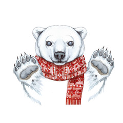 Drawing with a watercolor of a polar bear in the technique of a cartoon, on a theme of the new year, Christmas, in a knitted scarf with a jacquard pattern of red, joyful, smiling, waving his paw, whit