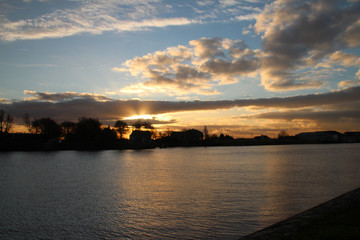 Sunrise above River Hollandse IJssel in the Netherlands