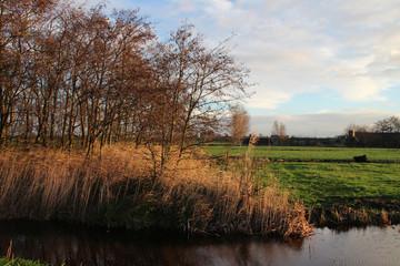 Fields of Park Hitland in Nieuwerkerk aan den IJssel, Netherlands,