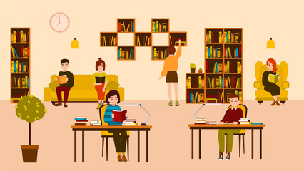 Smiling people reading and studying at public library. Cute flat cartoon men and women sitting at desks and on sofa surrounded by shelves and racks with books. Modern colorful vector illustration.