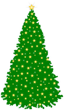 Green Christmas Tree with Stars & Sparkels