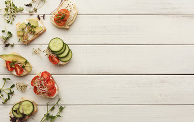 Variety of healthy vegetarian sandwiches