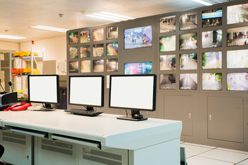 Modern plant control room and computer monitors