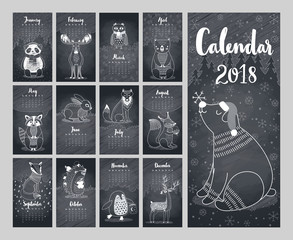 Wall Mural - Calendar 2018. Cute monthly calendar