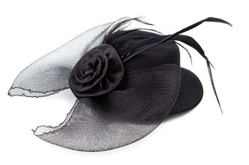 Black antique ladies hat isolated
