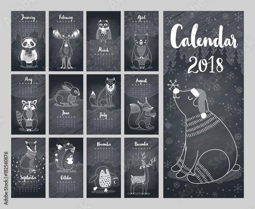 Wall mural Calendar 2018. Cute monthly calendar
