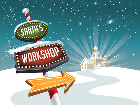 Retro sign pointing to Santa's workshop at the North Pole. With copy space. EPS 10 vector illustration.