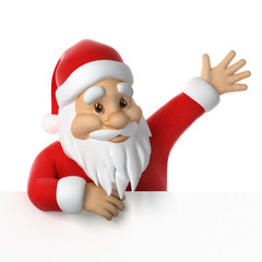 Santa Claus waving, 3d render