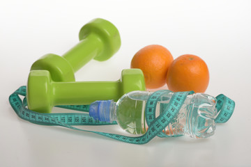 Sports and healthy regime equipment. Barbells made of plastic