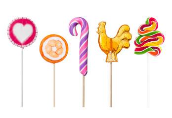 Fototapete - Set of colorful lollipops