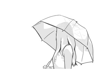 Isolated illustration of young woman holding umbrella and looking backwards in black and white