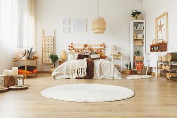 Spacious Scandinavian style bedroom