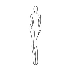 outline girl model template for fashion women figure sketching for designers of clothes vector illustration black lines isolated on white background