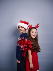 Shot of playful siblings at studio shot