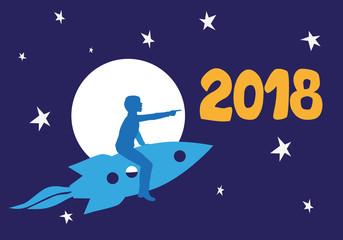 2018 - carte de vœux - enfant - rêve - imaginaire - imagination - création - espace