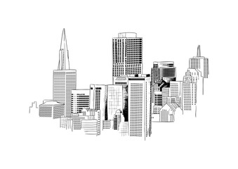 City Skyline Hand Drawn