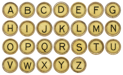 Alphabet set in old typewriter keys