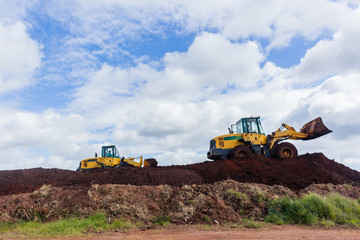 Earthworks Bulldozer Machines Construction Site Landscape