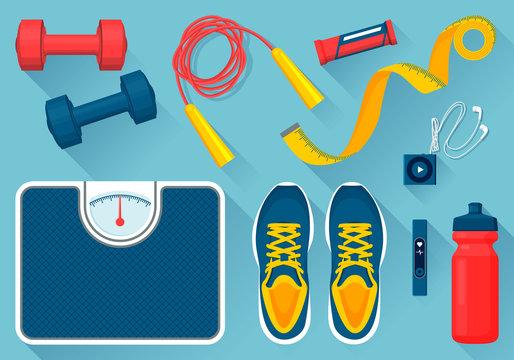Convenient Equipment for Fitness Illustrations Set