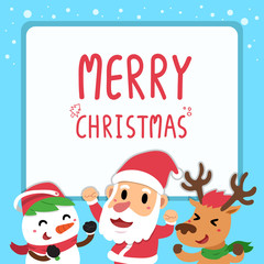Vector happy christmas companions greeting card
