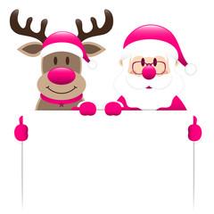 Pink Rudolph & Santa Holding Label