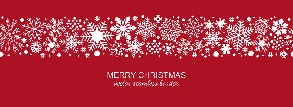 White and red seamless snowflake border, Christmas design for greeting card. Vector illustration, merry xmas snow flake header or banner, wallpaper or backdrop decor