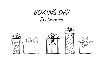 Boxing day hand drawn vector banner