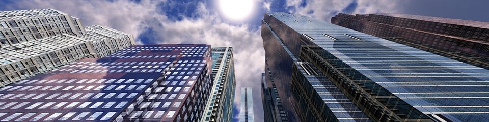 Beautiful skyscrapers against the sky with clouds, view from below, 3d rendering
