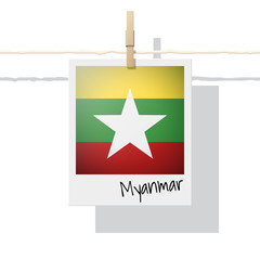 Asian country flag collection with photo of Myanmar flag on white background , vector , illustration