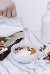 Light breakfast with granola bottle with milk and toast with cheese and figs