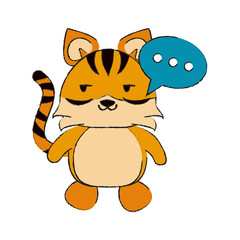 tiger side eye and chat bubble cute animal cartoon icon image vector illustration design