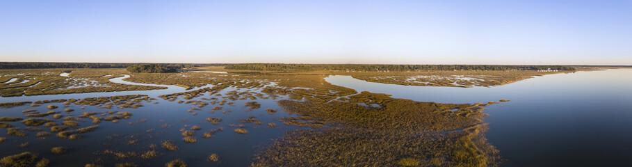 180 degree panorama of coastal estuary in South Carolina