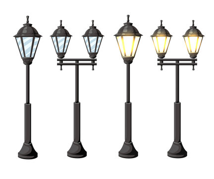 Vintage streetlights. Vector retro street lamp lights isolated on white background isolated on white background Web site page and mobile app design