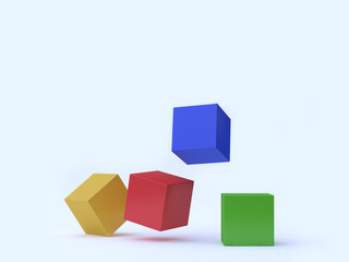 cube-square yellow red green blue floating white background 3d rendering