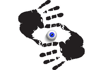 realistic eye ball looking at you through hand prints frame isolated on white background