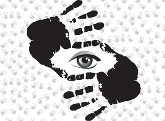 Human hands doing crop symbol wiyh eye inside