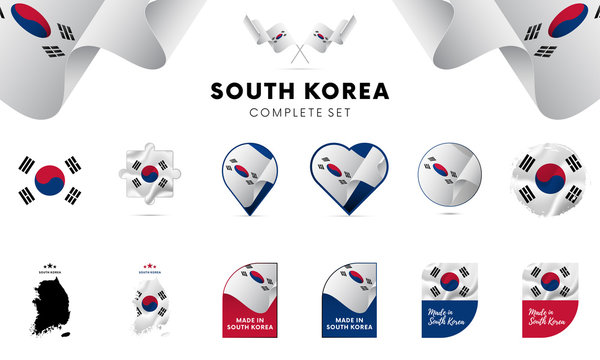South Korea complete set. Vector illustration.