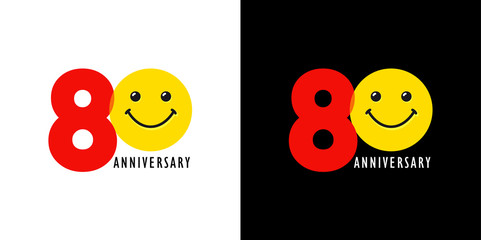 80 years old smiling logo. Congratulating celebrating 80th, 8th numbers, logotype with emotions. Isolated humorous colored greetings on black and white background or % off.