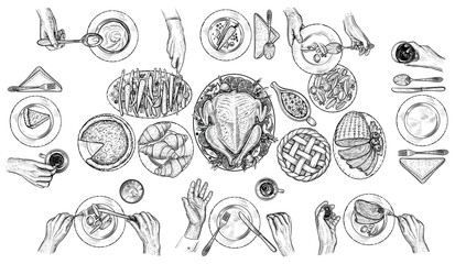 Dining people, vector illustration. Hands with cutlery at the table. Top view drawing.