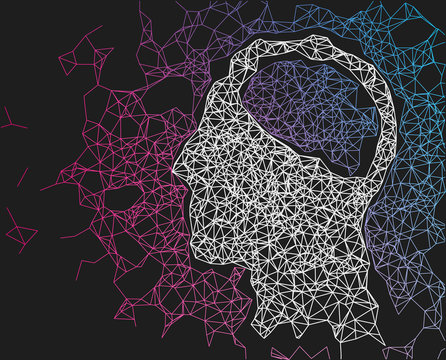 Human head network line abstract background. Concept of AI, deep learning