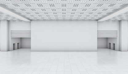 white wall room factory background, space backdrop