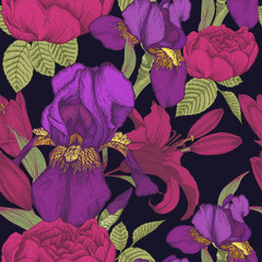 Vector floral seamless pattern with hand drawn iris, lilies and roses. Background in vintage style